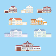 The image of a cottage with garage. Vector clip arts set.