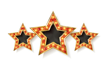 Three gold red stars on white background