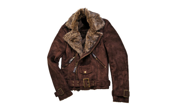 Warm brown shearling winter coat isolated on white. Casual jacket with fur collar