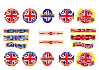 Icon and country logo infographic. Made in England. Vector EPS10