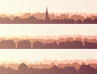 Horizontal banners of big European city.