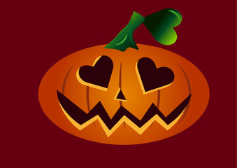 Scary halloween pumpkin face in love with heart shaped eyes