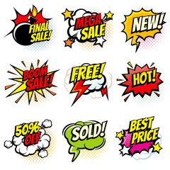 Best offer and sale promotional vector collection of pop art cartoon speech bubbles