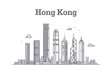 China hong kong city skyline. Architecture landmarks and buildings vector line panorama Fotomurales