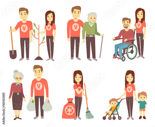 Volunteer helping to disabled people vector characters set for