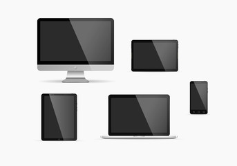 Set of monitor, tablet pc,smart phone and laptop. Vector illustration.