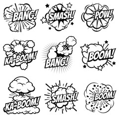 Cartoon explode icons. Comic book explosion bubbles. Pop art big bang and boom smoke clouds vector set