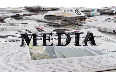 black media word & newspaper 3d rendering
