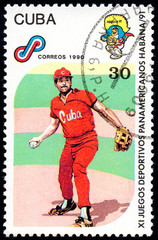 UKRAINE - CIRCA 2017: A postage stamp printed in Cuba shows Baseball from series 11th Pan American Games, circa 1990