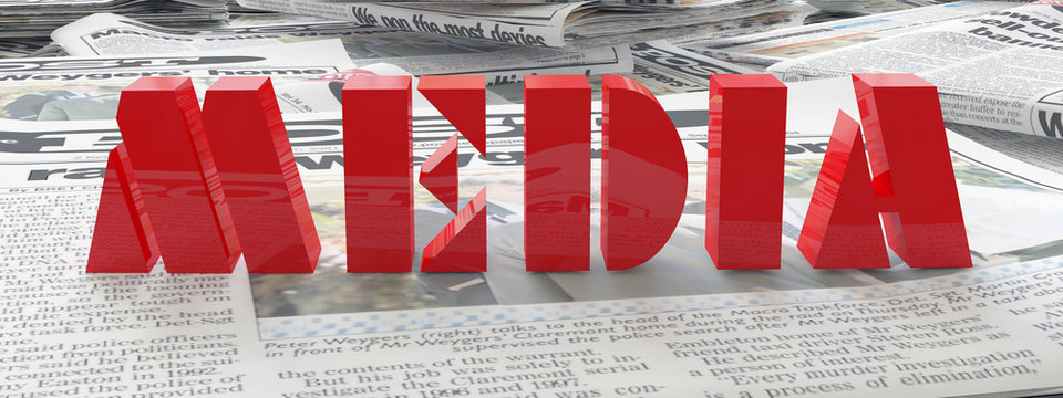 newspaper and red media word 3d illustration