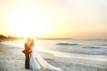 Stunning wedding couple stands on the beach in the rays of golden sun