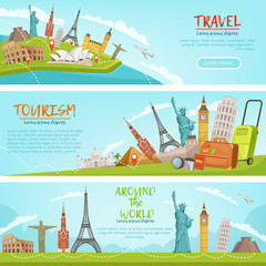 Vector design of three horizontal banners of travel illustrations and world landmarks. Pictures with place for your text