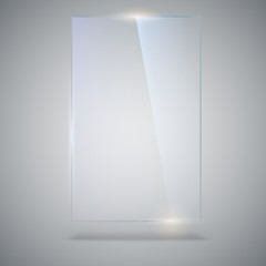 Blank, transparent vector glass plate. Vector template, vertical banner with copy-space. Photo realistic texture with highlights and glow on the background. See through the plastic, 3D illustration.