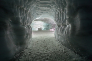 Tunnel in Ice Cave in the Langjokull glacier in Iceland