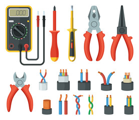 Electrical cable wires and different electronic tools. Cutter, multimeter. Vector illustrations isolated