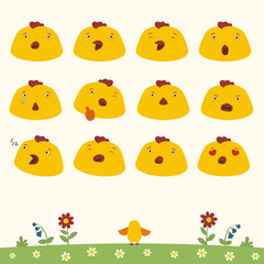 Emoticons set face of chicken in cartoon style. Collection isolated heads of chicken in different emotion and body on meadow with flowers.