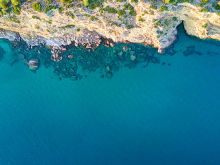 Wall Mural - Mediterranean island seashore. Aerial view
