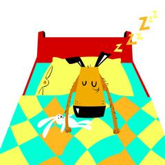 Sleeping dog. Vector cartoon illustration with cute dog
