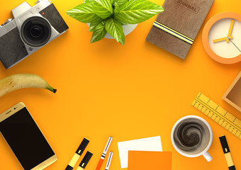Orange themed Top down view of a business desktop with a smartphone, office accessories,a journal, coffee and snacks. 3D illustration render.