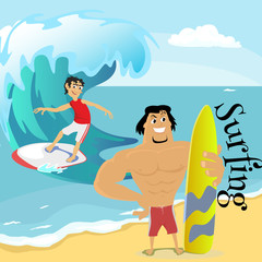 Surfing water extreme sports, isolated design element for summer vacation activity concept, cartoon wave surfing, sea beach vector illustration, active lifestyle adventure