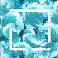 In de dag Groene koraal Sea blue water wave frame, ocean border background design element for banner or greeting card, decoration vector illustration
