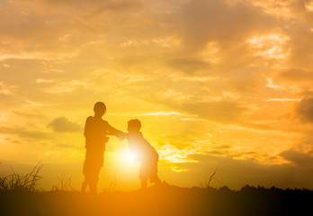Recess Fitting Buddha Silhouette of mother and child playing at the field sunset background, Happy Mother and child Concept