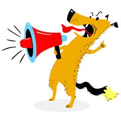 Screaming dog. The dog barks into the loudspeaker
