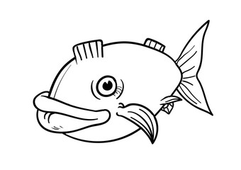 Big fish in line art. nice for coloring. Vector illustration