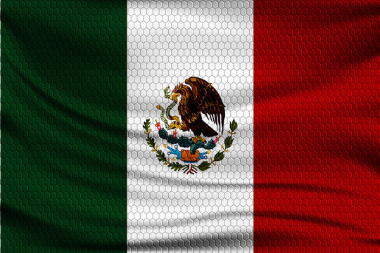 National flag of Mexico on wavy fabric with a volumetric pattern of hexagons. Vector illustration.