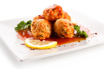 Roast meatballs with sauce