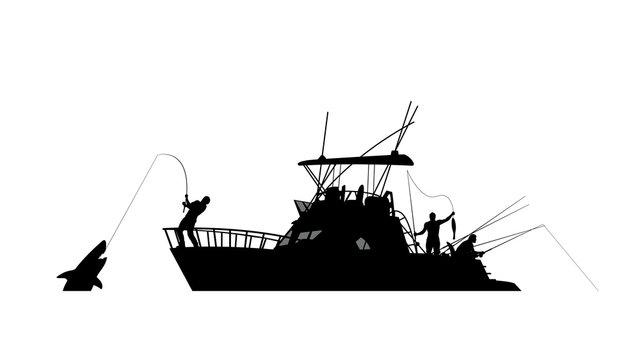 boat fishing silhouette