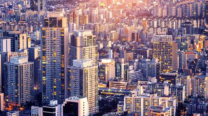 Aluminium Prints Seoul Cityscape of building and hotel in Seoul, South Korea.