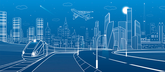 Infrastructure transportation panoramic. Train rides. Towers and skyscrapers. Urban scene, modern city on background, industrial architecture. White lines, vector design art