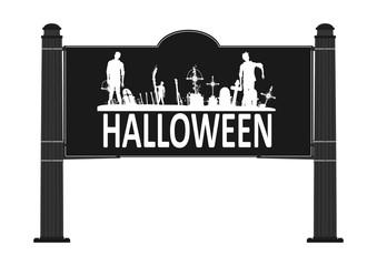 Halloween. Road sign. Flat vector.