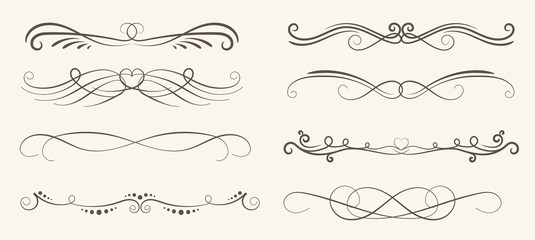 Vector set of decorative elements,  frame and line vintage style Wall mural