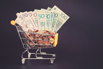 Shopping cart filled with polish Zloty coins and bills, color toning applied.