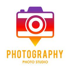 Pin here camera rainbow logo