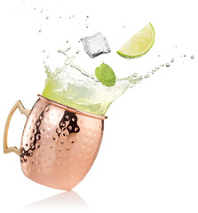 Wall Mural - splashing moscow mule cocktail on white background