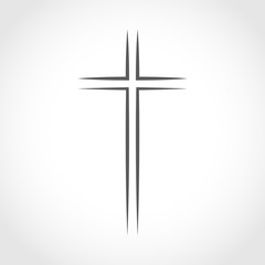Gray Christian cross icon. Vector illustration.