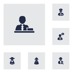 Set Of 6 Position Icons Set.Collection Of Officer, Fireman, Journalist And Other Elements.