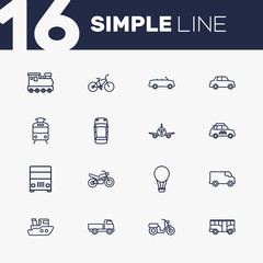 Set Of 16 Traffic Outline Icons Set.Collection Of Ship, Cabriolet, Airplane And Other Elements.