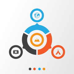 Journey Icons Set. Collection Of Camera, Mount, Planet And Other Elements. Also Includes Symbols Such As Mount, Mountain, Tent.