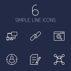 Set Of 6 Engine Outline Icons Set.Collection Of Url, Style, Targeting And Other Elements.