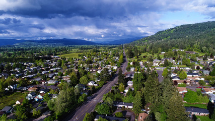 Townscape, aerial view over Oregon