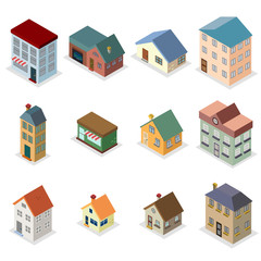 Modern trendy retro house street isometric design concept vector illustration