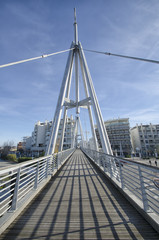 Pedestrian bridge in a modern district