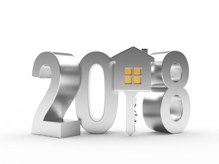 Real estate concept. Silver 2018 New Year and key with house figure isolated on a white background. 3D illustration