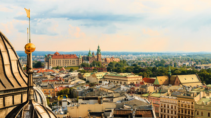 Krakow. Poland. Summer. Sunset. View of the old town. City landscape.