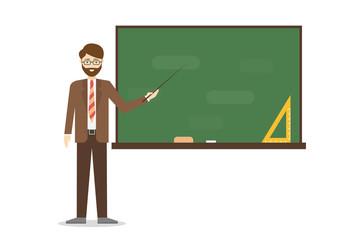 Teacher with chalkboard.