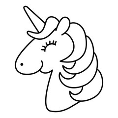 Unicorn Head Smile And Happy Cartoon Line Art Coloring Page